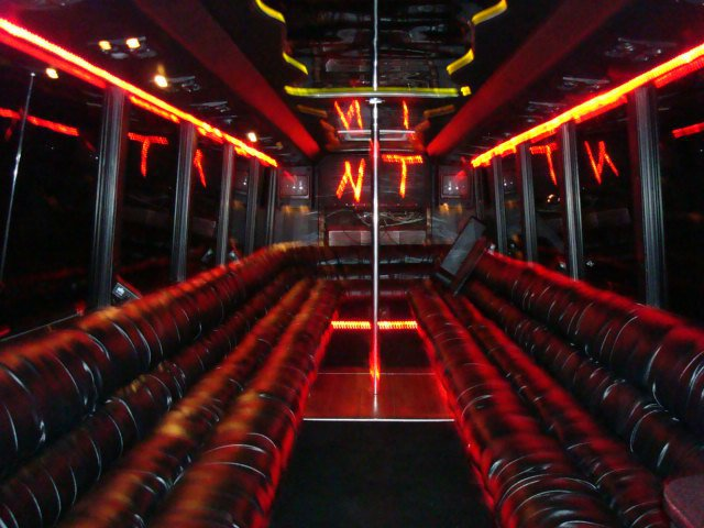 Black VIP Limo Party Bus (Interior, Party Lights)
