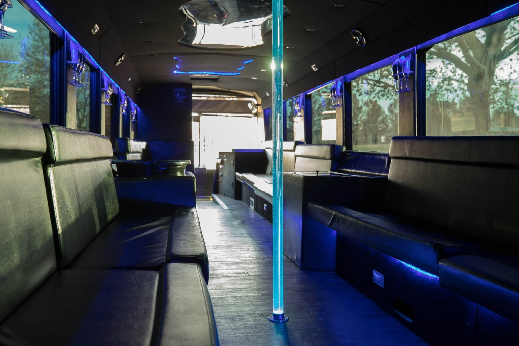 Ambassador Bus (Interior, Front, Dance Pole with Green Lighting)