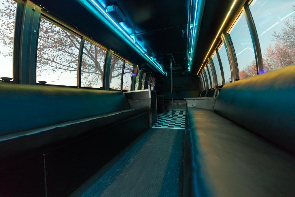 Orange Party Bus (Interior, Rear, Blue Lighting, View 1)
