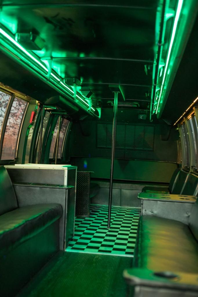 Orange Party Bus (Interior, Rear, Green Lighting, View 1)