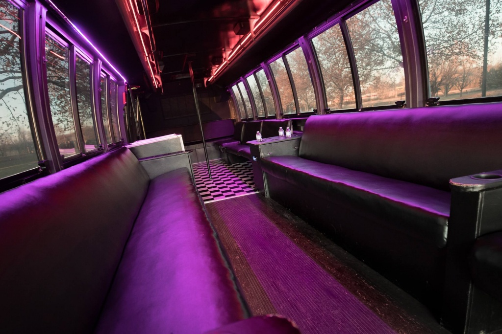 Orange Party Bus (Interior, Rear, Red Lighting, View 3)